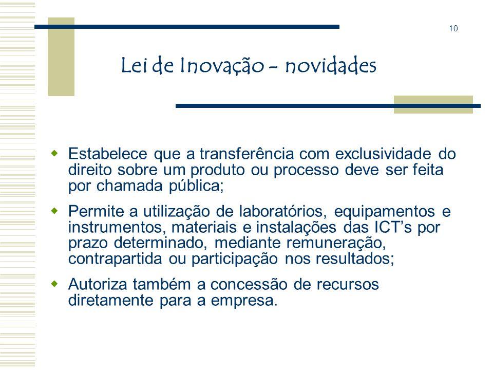 Lei de Inovação - novidades