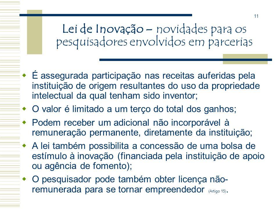 11 Lei de Inovação – novidades para os pesquisadores envolvidos em parcerias.