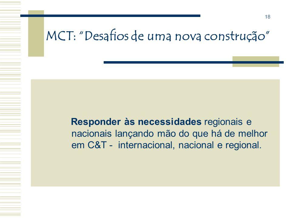 MCT: Desafios de uma nova construção