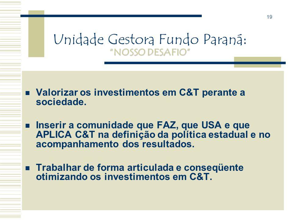 Unidade Gestora Fundo Paraná: NOSSO DESAFIO