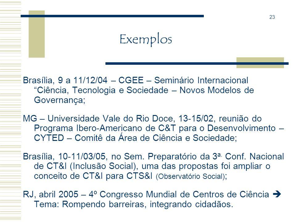 23 Exemplos. Brasília, 9 a 11/12/04 – CGEE – Seminário Internacional Ciência, Tecnologia e Sociedade – Novos Modelos de Governança;