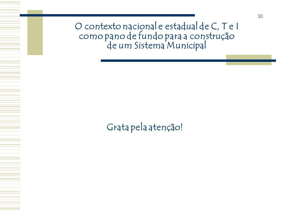 30 O contexto nacional e estadual de C, T e I como pano de fundo para a construção de um Sistema Municipal.