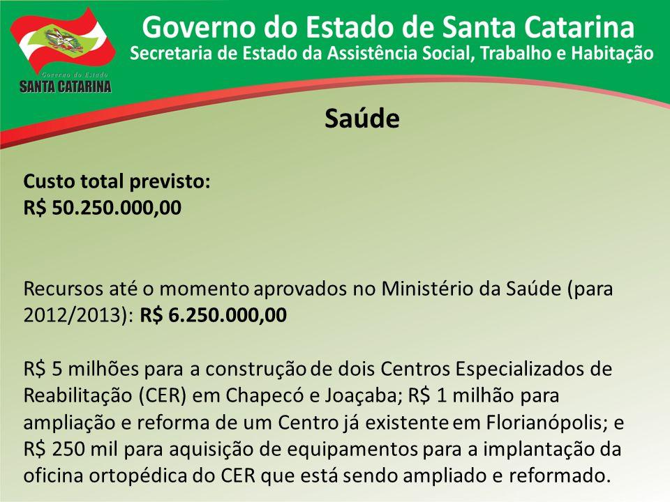 Saúde Custo total previsto: R$ 50.250.000,00