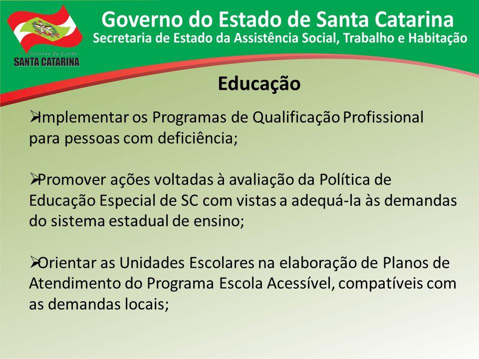 Educação Implementar os Programas de Qualificação Profissional para pessoas com deficiência;