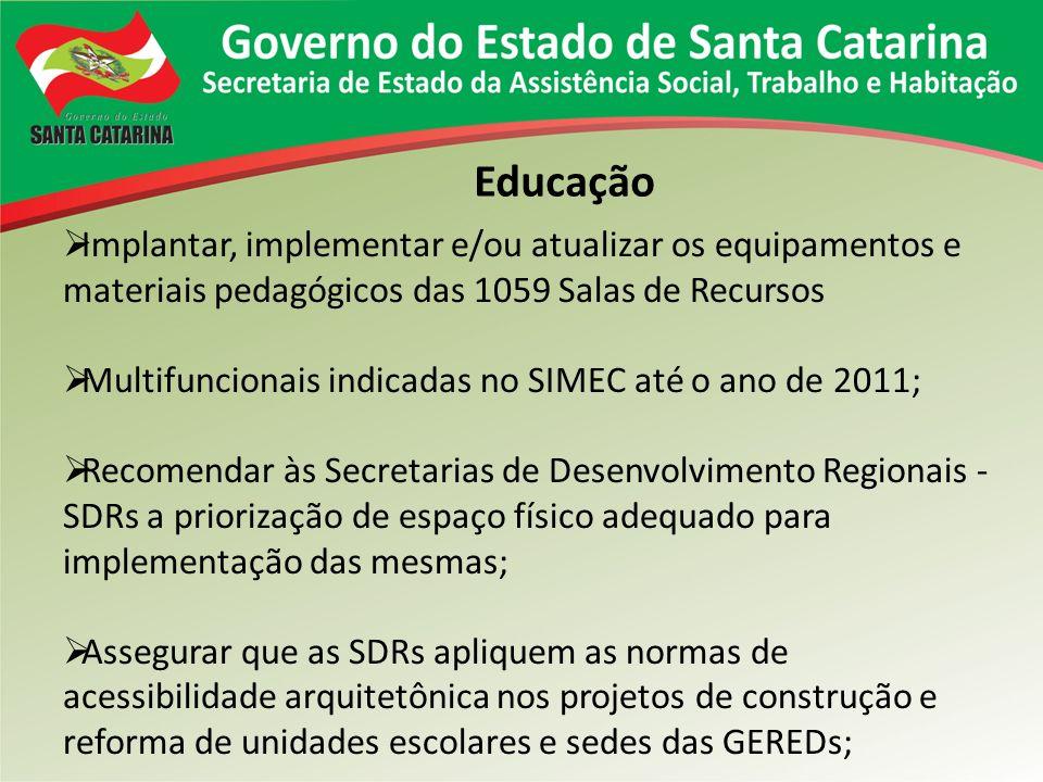 Educação Implantar, implementar e/ou atualizar os equipamentos e materiais pedagógicos das 1059 Salas de Recursos.