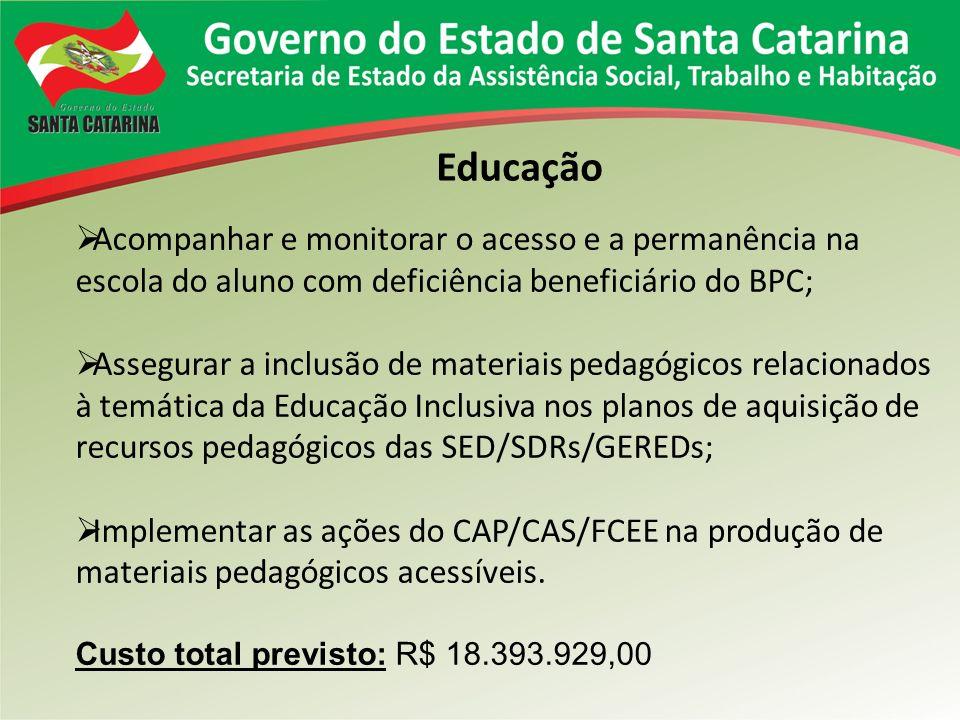 Educação Acompanhar e monitorar o acesso e a permanência na escola do aluno com deficiência beneficiário do BPC;