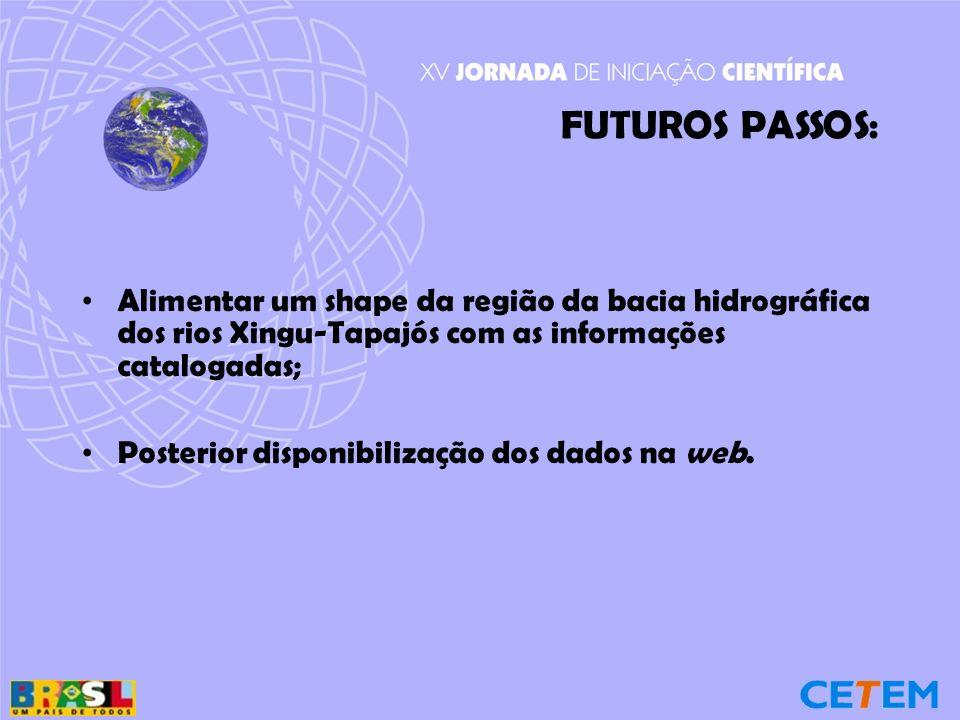 FUTUROS PASSOS: Alimentar um shape da região da bacia hidrográfica dos rios Xingu-Tapajós com as informações catalogadas;