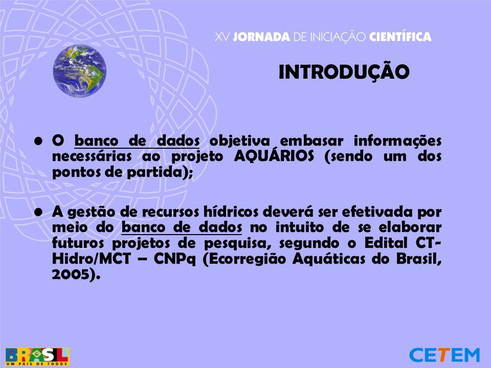 INTRODUÇÃO O banco de dados objetiva embasar informações necessárias ao projeto AQUÁRIOS (sendo um dos pontos de partida);