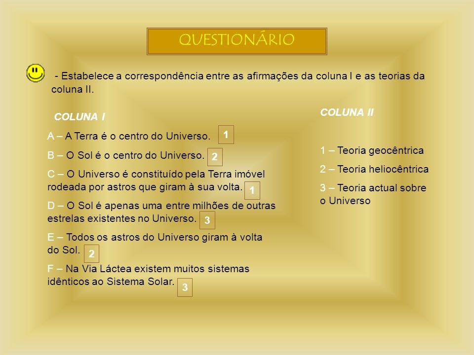QUESTIONÁRIO - Estabelece a correspondência entre as afirmações da coluna I e as teorias da coluna II.