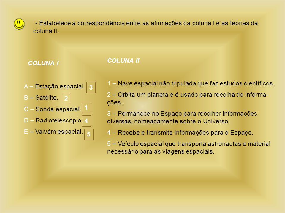 - Estabelece a correspondência entre as afirmações da coluna I e as teorias da coluna II.