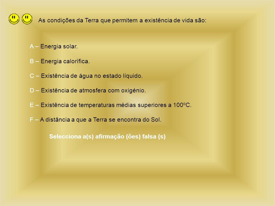 As condições da Terra que permitem a existência de vida são: