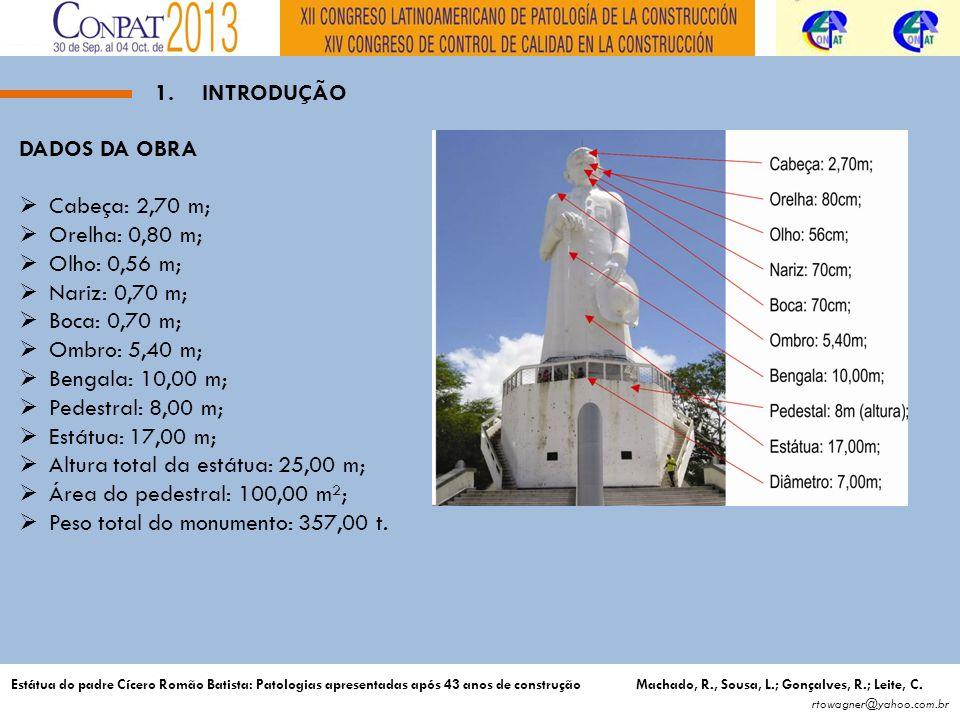 Altura total da estátua: 25,00 m; Área do pedestral: 100,00 m²;