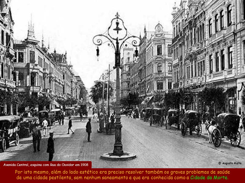 Avenida Central, esquina com Rua do Ouvidor em 1908