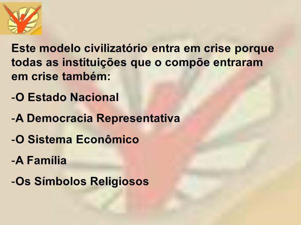 Este modelo civilizatório entra em crise porque todas as instituições que o compõe entraram em crise também: