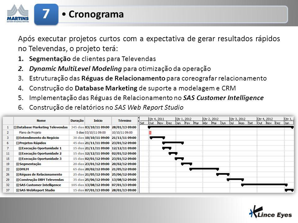 7 Cronograma. Após executar projetos curtos com a expectativa de gerar resultados rápidos no Televendas, o projeto terá: