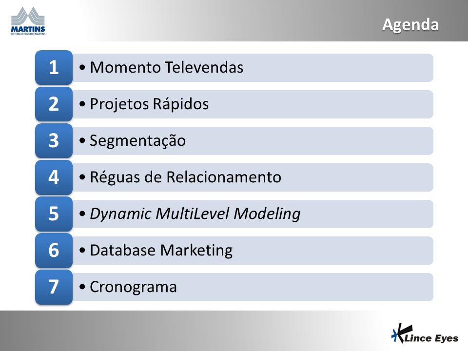 Agenda 1 Momento Televendas 2 Projetos Rápidos 3 Segmentação 4