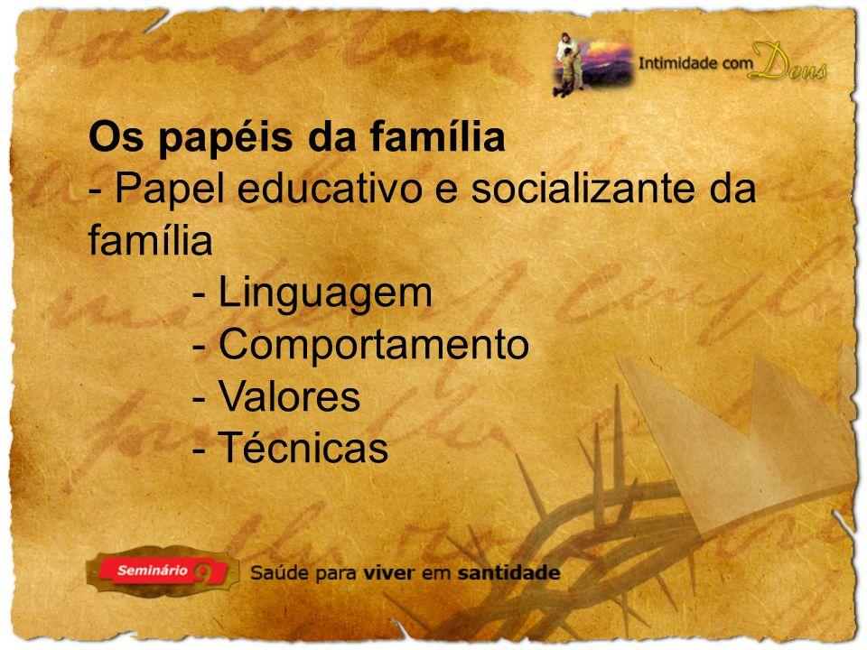 Os papéis da família - Papel educativo e socializante da família. - Linguagem. - Comportamento. - Valores.