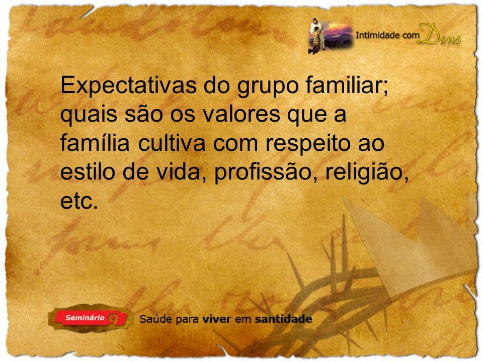 Expectativas do grupo familiar; quais são os valores que a família cultiva com respeito ao estilo de vida, profissão, religião, etc.
