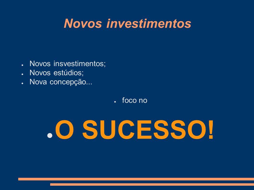 O SUCESSO! Novos investimentos Novos insvestimentos; Novos estúdios;