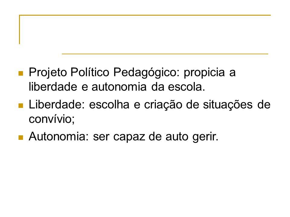 Projeto Político Pedagógico: propicia a liberdade e autonomia da escola.