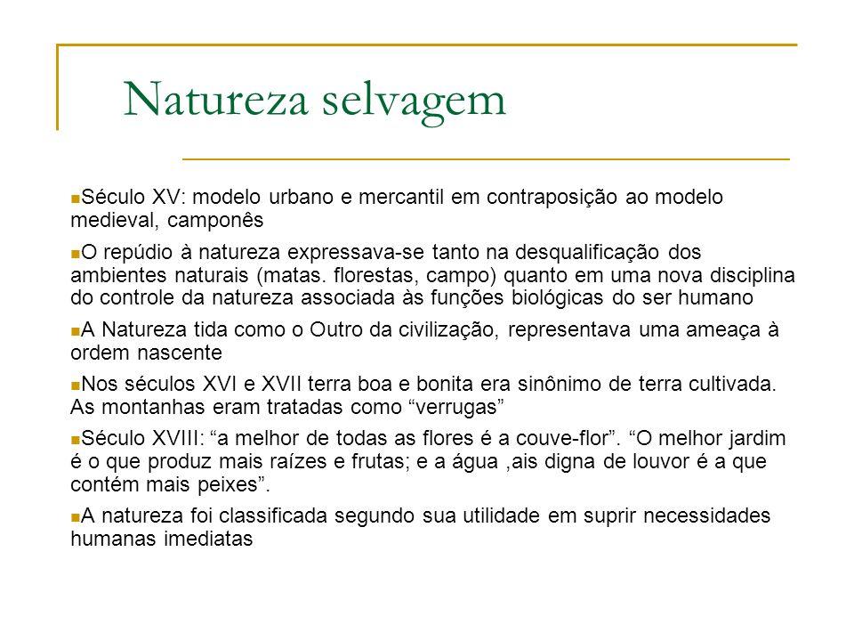 Natureza selvagem Século XV: modelo urbano e mercantil em contraposição ao modelo medieval, camponês.