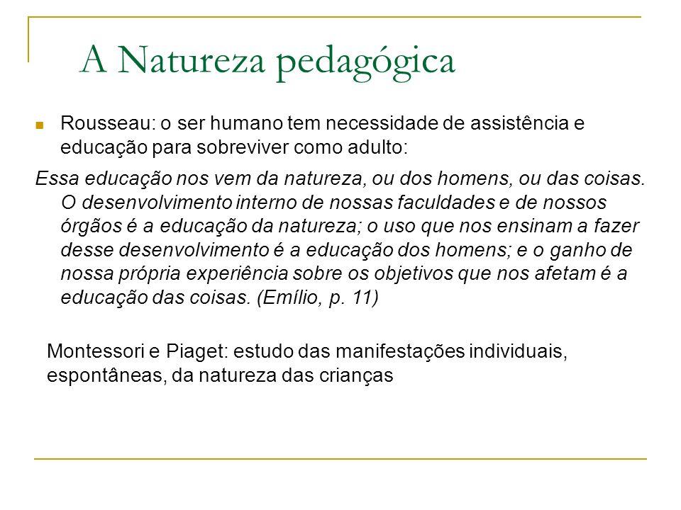 A Natureza pedagógica Rousseau: o ser humano tem necessidade de assistência e educação para sobreviver como adulto: