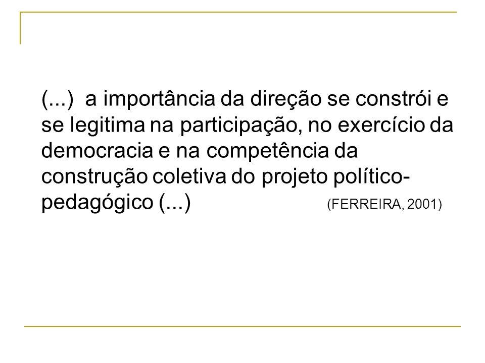 (...) a importância da direção se constrói e se legitima na participação, no exercício da democracia e na competência da construção coletiva do projeto político- pedagógico (...) (FERREIRA, 2001)