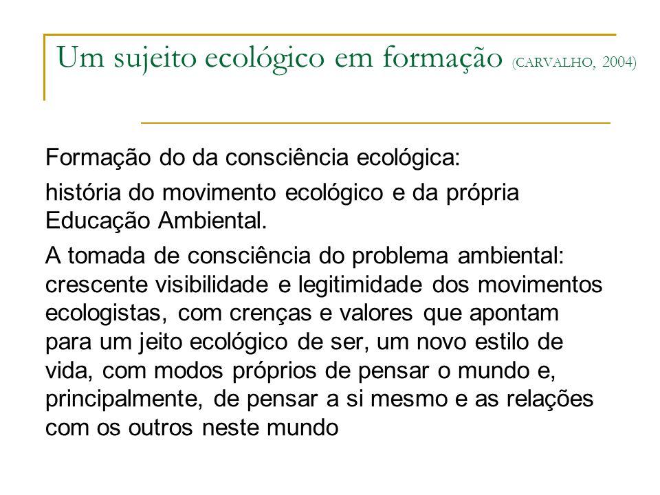 Um sujeito ecológico em formação (CARVALHO, 2004)