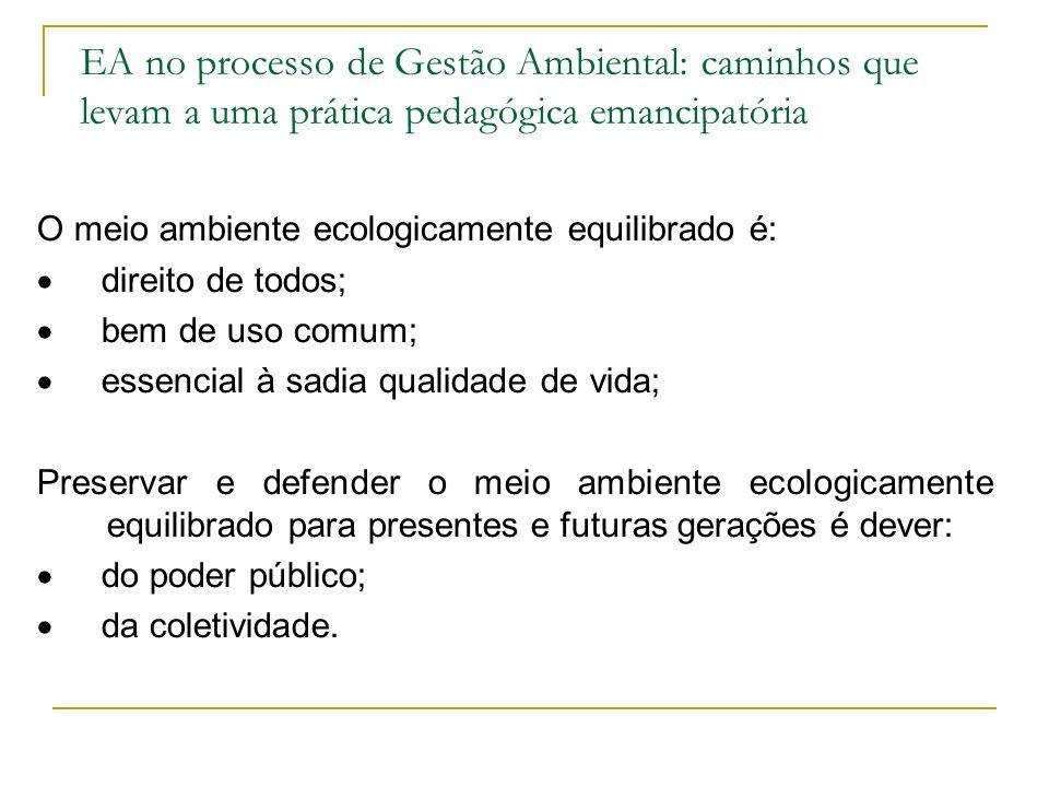 EA no processo de Gestão Ambiental: caminhos que levam a uma prática pedagógica emancipatória
