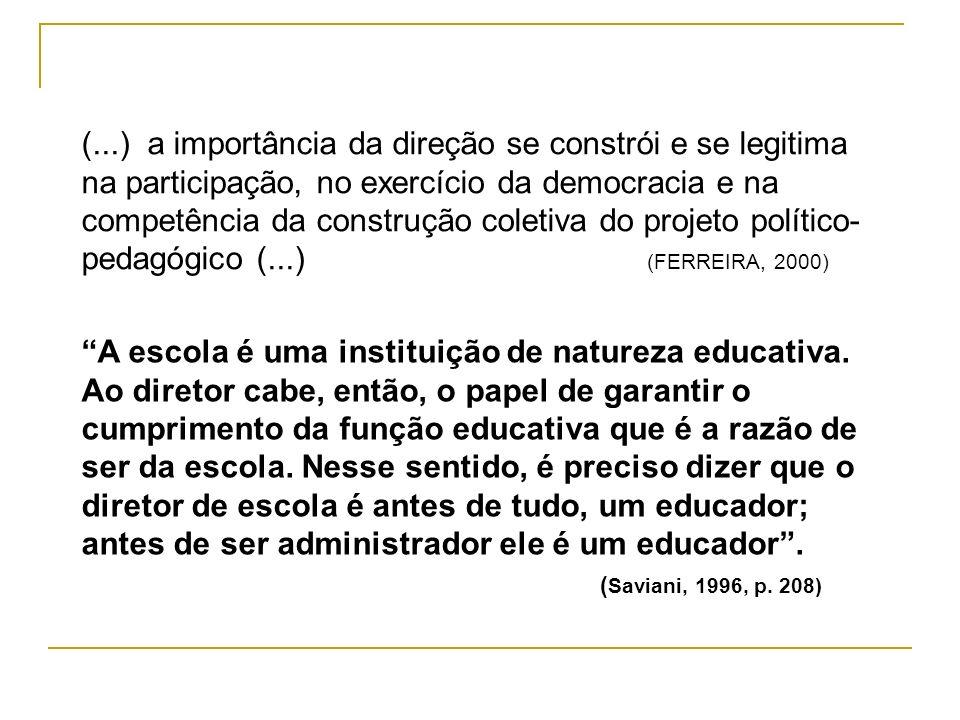 (...) a importância da direção se constrói e se legitima na participação, no exercício da democracia e na competência da construção coletiva do projeto político- pedagógico (...) (FERREIRA, 2000)