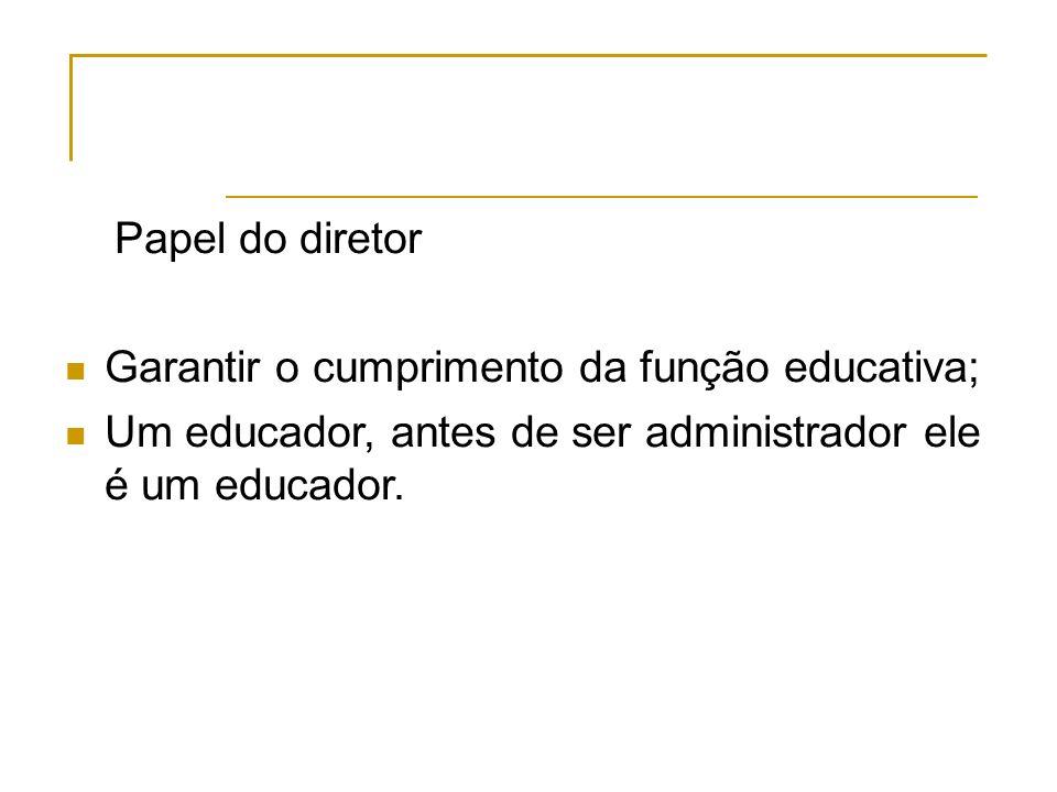 Papel do diretor Garantir o cumprimento da função educativa; Um educador, antes de ser administrador ele é um educador.
