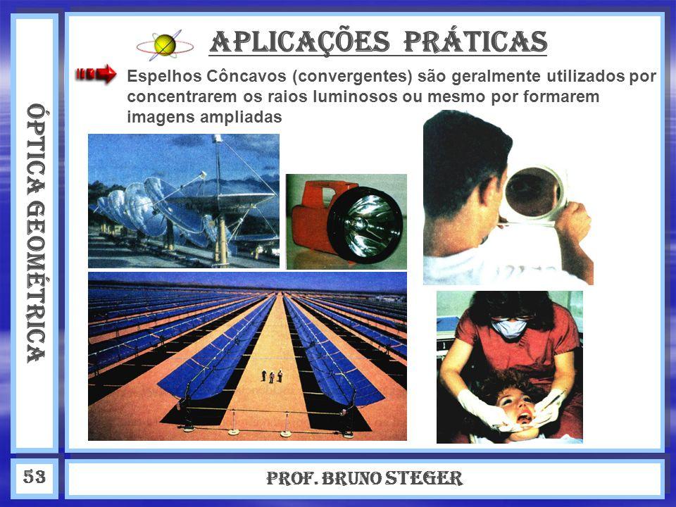APLICAÇÕES PRÁTICAS ÓPTICA GEOMÉTRICA Prof. Bruno Steger 53