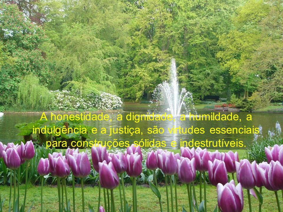 A honestidade, a dignidade, a humildade, a indulgência e a justiça, são virtudes essenciais para construções sólidas e indestrutíveis.