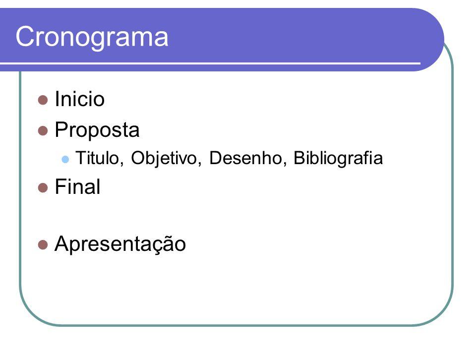 Cronograma Inicio Proposta Final Apresentação