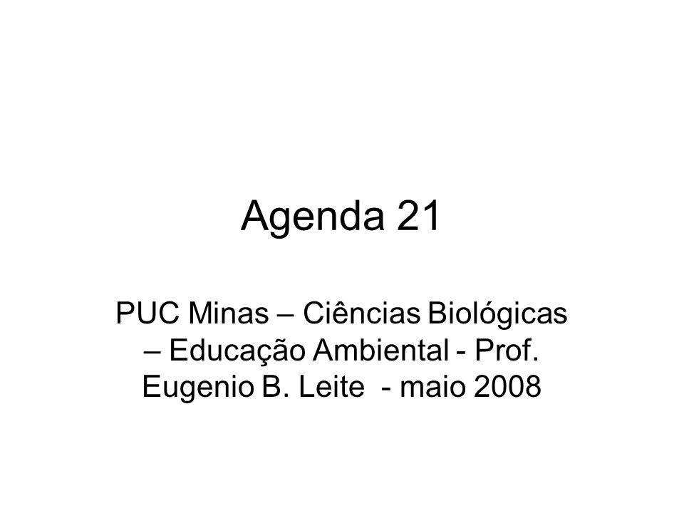 Agenda 21 PUC Minas – Ciências Biológicas – Educação Ambiental - Prof.