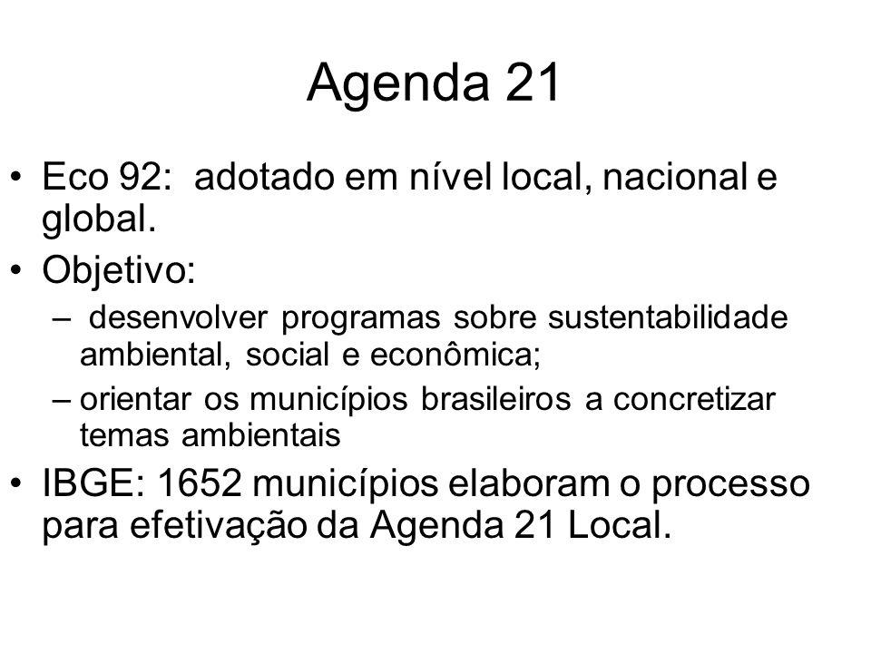 Agenda 21 Eco 92: adotado em nível local, nacional e global. Objetivo: