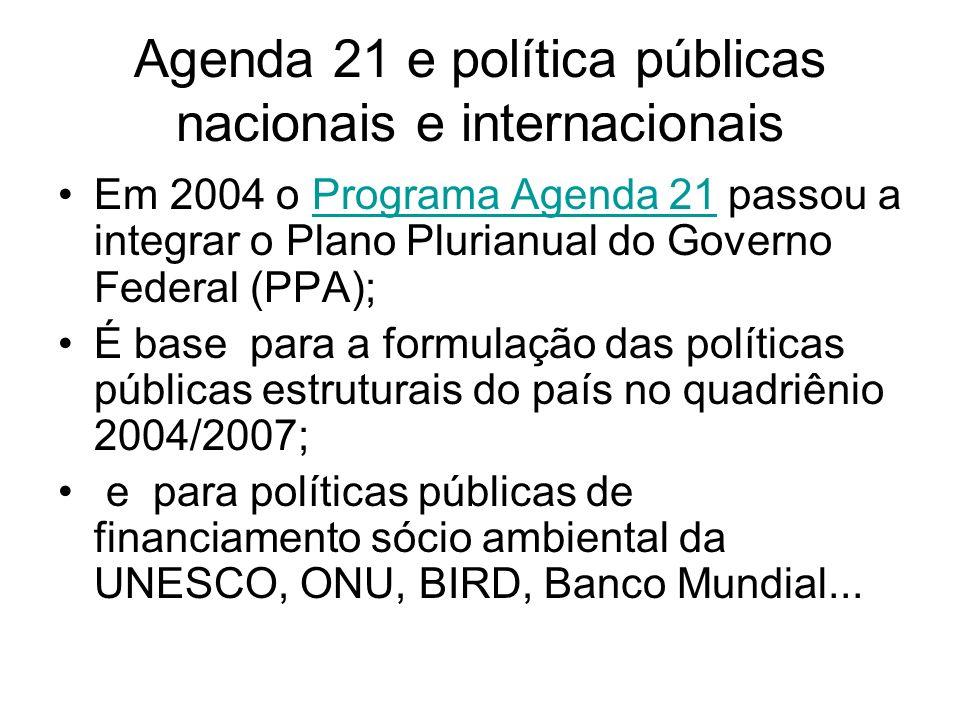 Agenda 21 e política públicas nacionais e internacionais