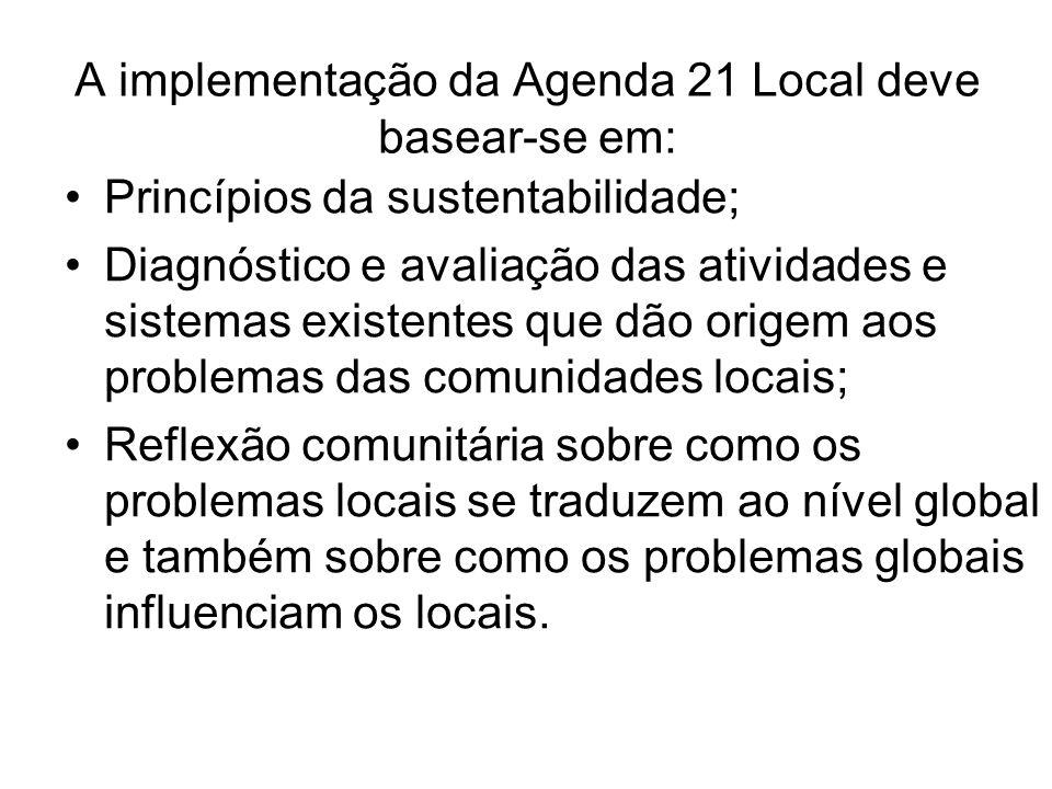 A implementação da Agenda 21 Local deve basear-se em: