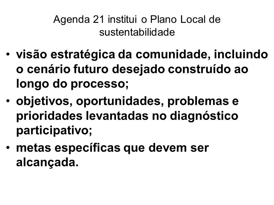 Agenda 21 institui o Plano Local de sustentabilidade