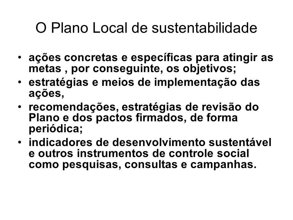 O Plano Local de sustentabilidade