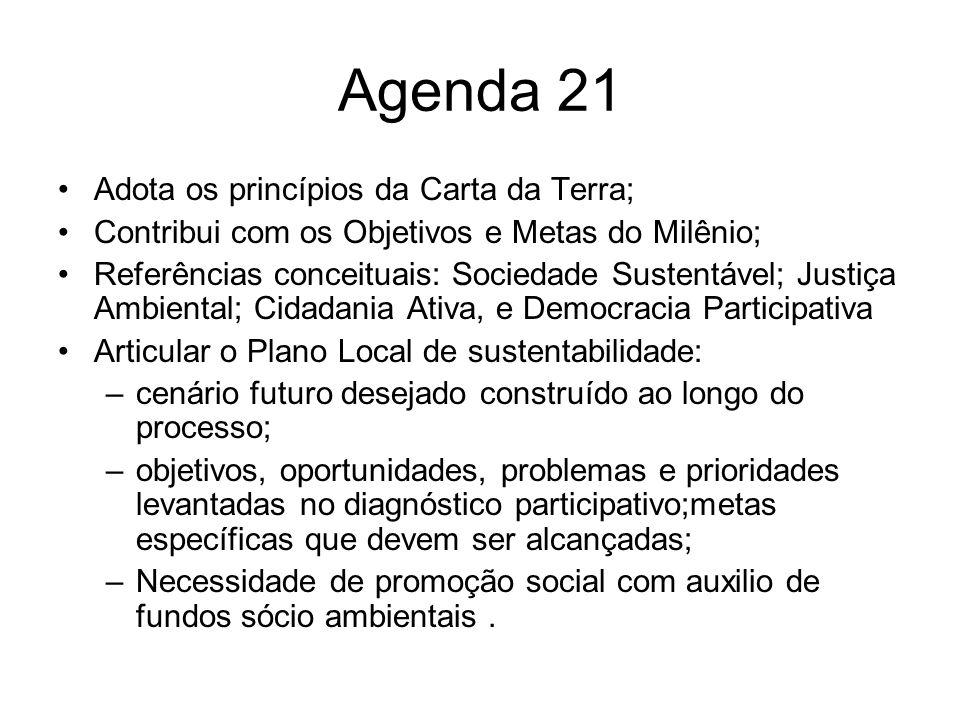 Agenda 21 Adota os princípios da Carta da Terra;