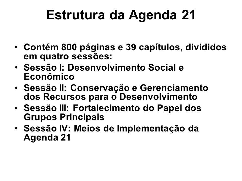 Estrutura da Agenda 21 Contém 800 páginas e 39 capítulos, divididos em quatro sessões: Sessão I: Desenvolvimento Social e Econômico.