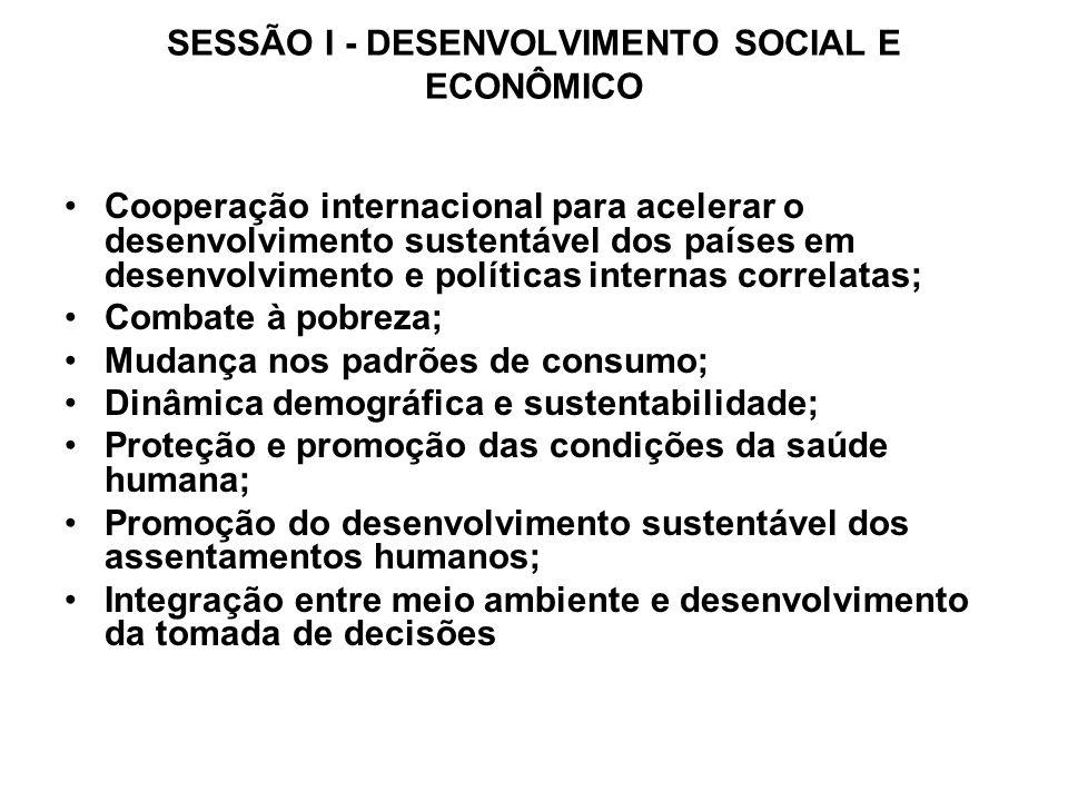 SESSÃO I - DESENVOLVIMENTO SOCIAL E ECONÔMICO