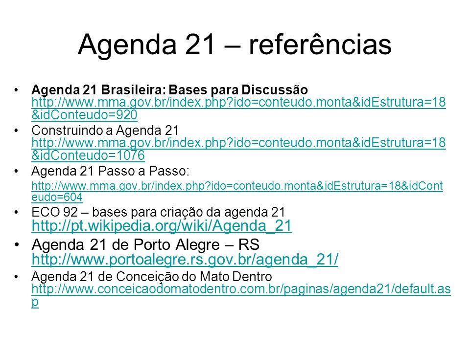 Agenda 21 – referências Agenda 21 Brasileira: Bases para Discussão http://www.mma.gov.br/index.php ido=conteudo.monta&idEstrutura=18&idConteudo=920.