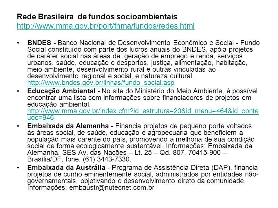 Rede Brasileira de fundos socioambientais http://www. mma. gov