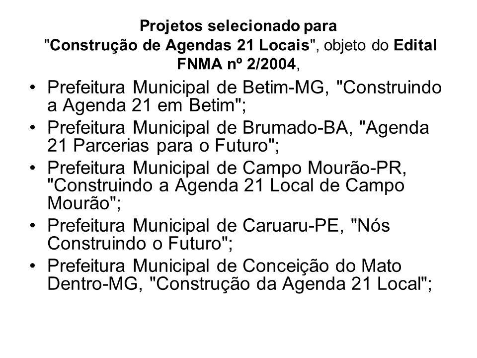 Prefeitura Municipal de Betim-MG, Construindo a Agenda 21 em Betim ;