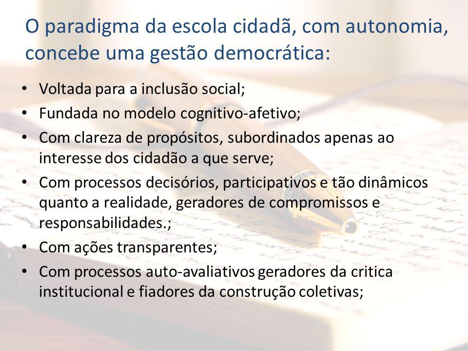 O paradigma da escola cidadã, com autonomia, concebe uma gestão democrática:
