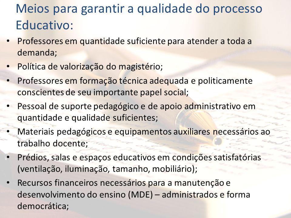 Meios para garantir a qualidade do processo Educativo:
