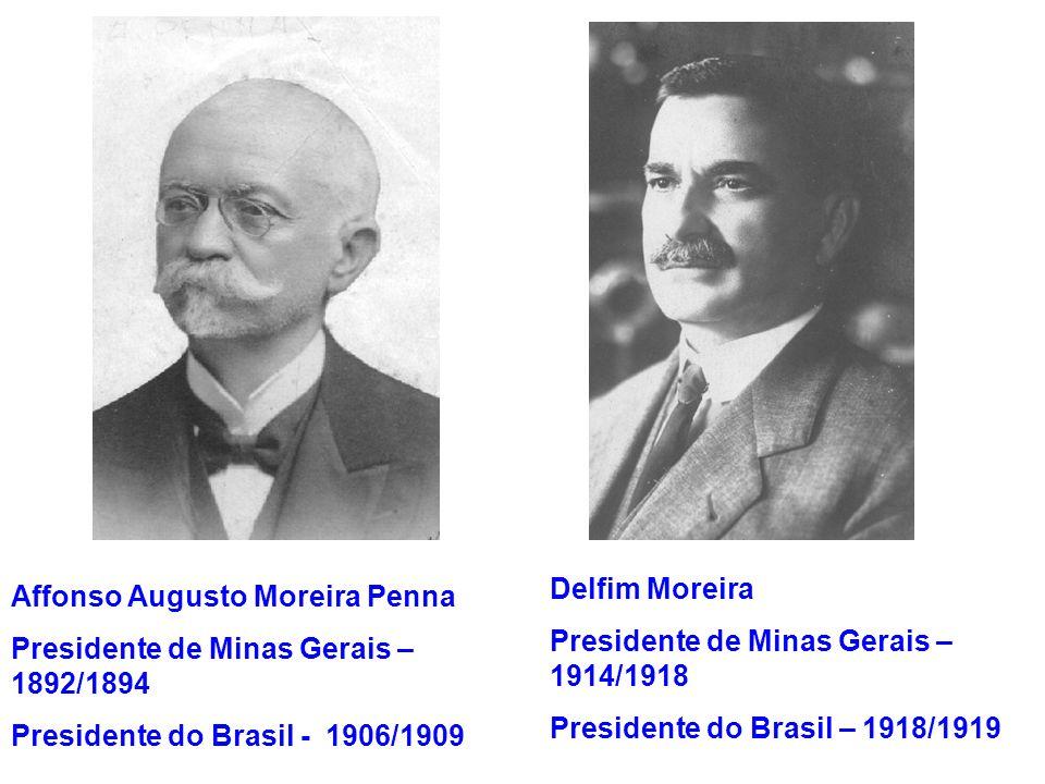 Delfim Moreira Presidente de Minas Gerais – 1914/1918. Presidente do Brasil – 1918/1919. Affonso Augusto Moreira Penna.