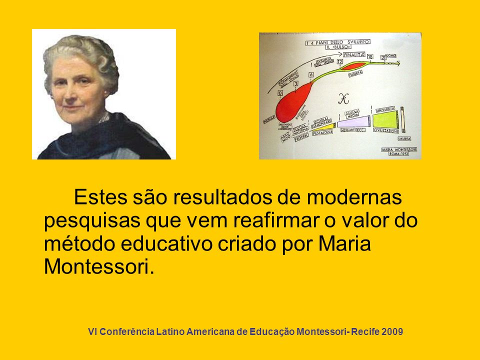 Estes são resultados de modernas pesquisas que vem reafirmar o valor do método educativo criado por Maria Montessori.